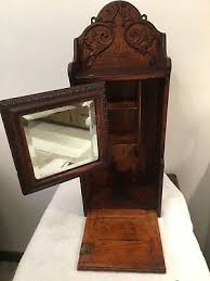 vintage wood medicine cabinet beveled swing mirror old condition very good