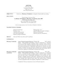 Pharmacy Technician Objective Resume Samples Student