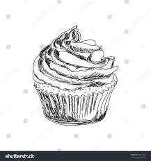 cupcake pencil drawing. Unique Cupcake Sketch Of A Cupcake Imitation Pencil Drawing Hand Vector  Illustration In In Cupcake Pencil Drawing D