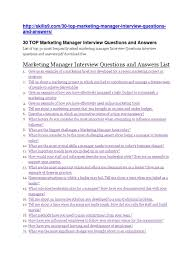 Marketing Manager Interview Questions And Answers Docx Marketing