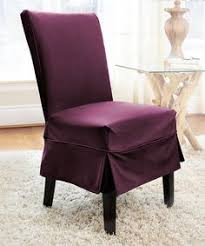 love this indigo twill parson mid pleat chair cover on