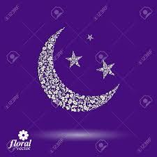 新月は星空の美しいアート ベクトル イラスト花の子守唄様式化されたアイコン睡眠時間のアイデアmoon