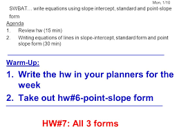 17 mon 1 10 swbat write equations using