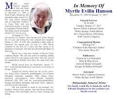 In Memory Of Myrtle Evilin Hanson