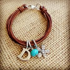 initial leather bracelet leather bracelet diy leather bracelet jewelry stamped jewelry