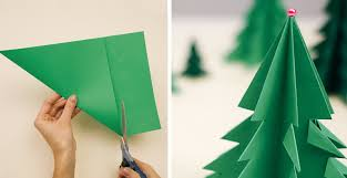 Christmas Tree In Chart Paper How To Make 3d Paper Christmas Tree Diy Crafts Handimania