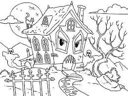 Small Picture Printable Haunted House Coloring Pages Coloring Me