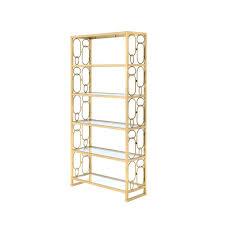 acme furniture milavera clear gl and gold bookcase