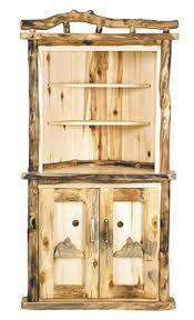 rustic hutch dining room: rustic dining log corner hutch dr cornerhutch lg rustic dining log corner hutch