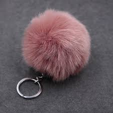 <b>8CM Fluffy Pompon Bunny</b> Fur Ball Key Chain Ring Women Faux ...