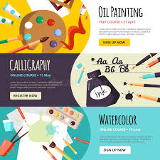 art and craft lessons banners for oil painting calligraphy and watercolor vector ilration