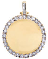 mens real diamond pendant memory frame photo engrave 10k yellow gold charm 1 1 2ct