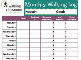 Printable Walking Charts Every Step Counts Tracking Your Miles The Walking Classroom