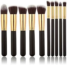 tribecca 10pcs makeup brush set 10 professional makeup brushes kit black gold handle