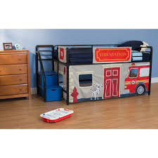 Fire Department Junior Loft with Blue Steps and Storage Black