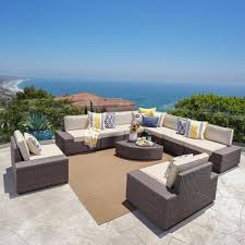 10 piece wicker patio conversation set