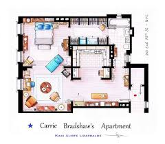 above carrie s first apartment in and the city it doesn t seem so small in a floor plan does it