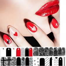 1 Ks červená černá A Bílá Klasika Série Lak Na Nehty Nálepka Obrazy