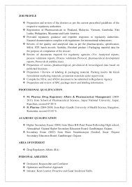 Regulatory Affairs Resume Sample