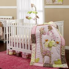 lovely safari crib bedding with pink fur rug