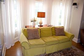 Interior: Perfect Living Room Filled With Pleasant Lime Green Sofa In Front  Bay Window Feat