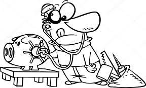 Vector Van Een Cartoon Rover Ontsluiten Een Piggy Bank Vault