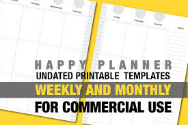 planners weekly monthly undated happy planner refill template weeklymonthly greys