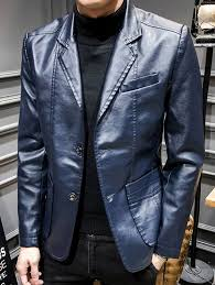 men slim business style fashionable leather jacket deep blue 3xl