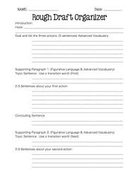 writing rough draft organizer for expository and descriptive essays
