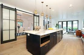 contemporary kitchen with glass panel sliding barn doors to dining room door panels interior barn door panels