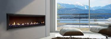 escea dx1500 single sided gas fireplace in a modern luxury house with a view on