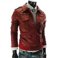 multi pocket style mens casual slim fit red faux leather jacket