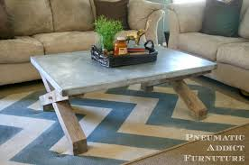 pneumatic addict zinc top coffee table tutorial pottery barn zinctopcoffeet