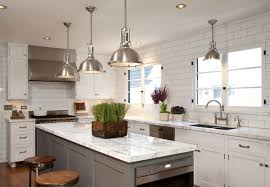 Kitchen with Industrial Pendant Lights