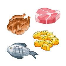 fish meat clipart. Interesting Fish Food And Meal Vector Set In Cartoon Style Meat Steak Chicken Fish  Potatoes In Fish Clipart