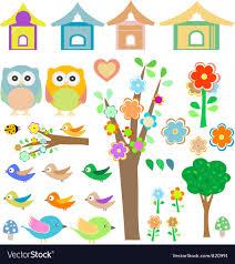 Set <b>birds</b> with birdhouses <b>owls trees</b> and <b>flowers</b> Vector Image
