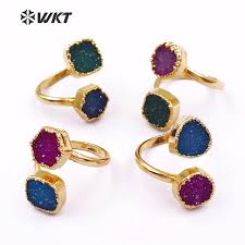 wt r119 wkt whole indian double stone rings beautiful gold color edged natural quartz rings for women