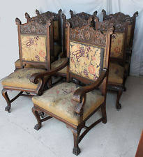 Antique Quality Victorian Oak matching Chairs Set of Eight - Highly Carved  - Bea