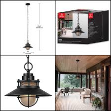 details about rustic pendant light dimmable cabin lodge hanging counter black indoor outdoor