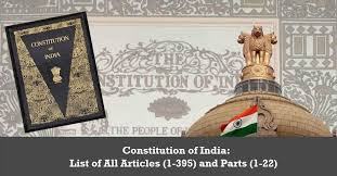 Constitution Of India List Of All Articles 1 395 And