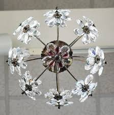 french antique crystal flowers and brass chandelier for 5