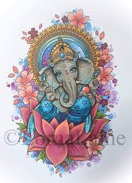 Ganesh Tattoo Print Tattoo Design Spiritual Art Elephant God Elephant Art Ethnic Home Decor Deity Art Religious Art Mandala