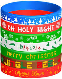 KUUQA 42 Pieces <b>Christmas Silicone</b> Wristbands Rubber <b>Band</b> ...
