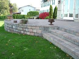 backyard raised patio ideas. Raised Patio | With Steps Western Interlock Backyard Ideas