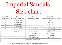 Imperial Chart Imperial Sandals Size Chart