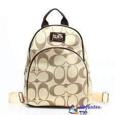 Coffee Coach Logo Monogram Small Apricot Backpacks