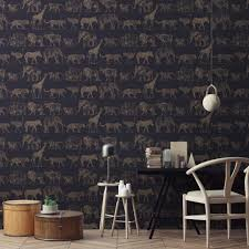 safari wallpaper in navy blue and rose gold