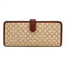 COACH Madison Needle Op Art Small Skinny Wallet Khaki at Amazon Women s  Clothing store