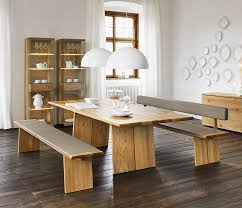 indoor dining table with bench seats.