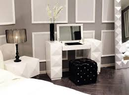 bedroom vanity sets white. Modern White Diamond Texture Bedroom Vanity With Folding Down Mirror And Black Cube Chair Sets R